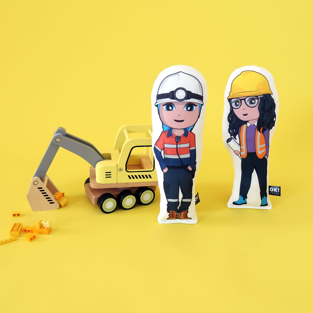 Miner and engineer plush dolls
